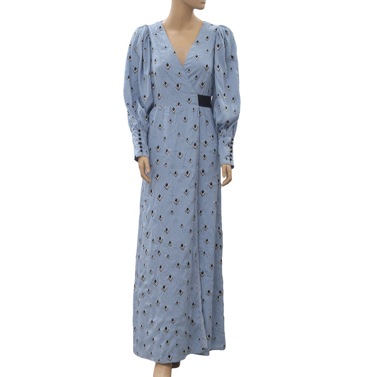 Uterque Long Surplice With Bow Maxi Dress XS