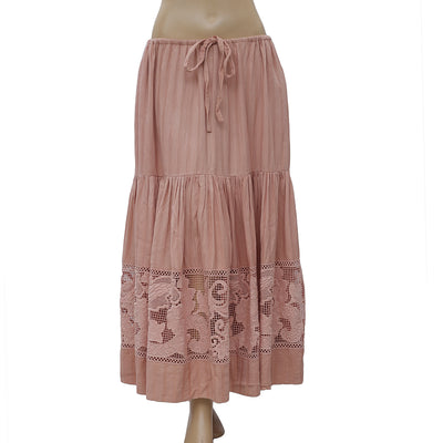 Ulla Jhonson Embroidered Crochet Peach Maxi Skirt Resort Summer Boho S