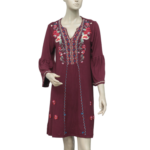 Caite Floral Embroidered Maroon Tunic Dress M
