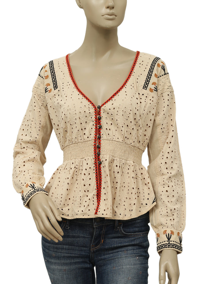 Free People FP New Romantics Embroidered Eyelet Black Top S