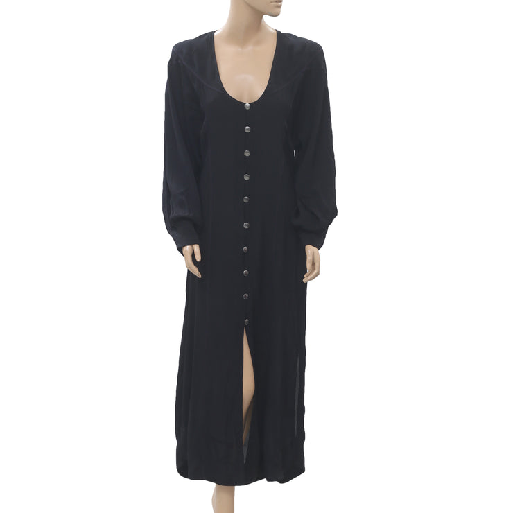Kimchi Blue Urban Outfitters Buttondown Maxi Dress Evening Black Boho S