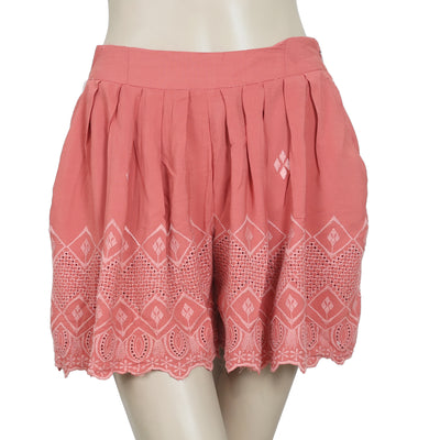 Free People Eyelet Embroidered Pleated Brick Short S
