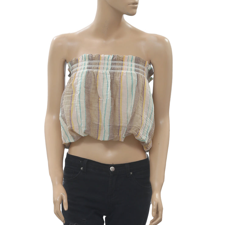 Free People Striped Tube Crop Top Smocked Summer Beach Boho S