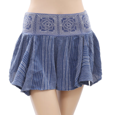 Free People Blue Shorts Thread Embroidered Smocked Extra Small XS New