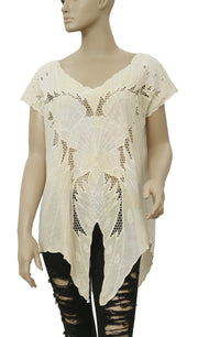 Free People Castaway Embroidered Cutout Yellow Blouse Tunic Top XS