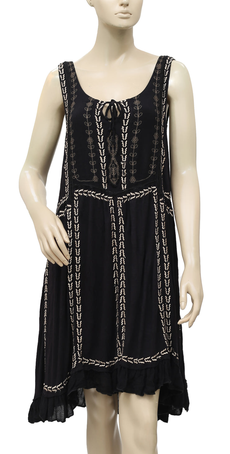 Free People Embroidered Black Lace Dress S