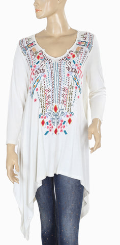 Caite Embroidered Ivory Tunic Top Small S