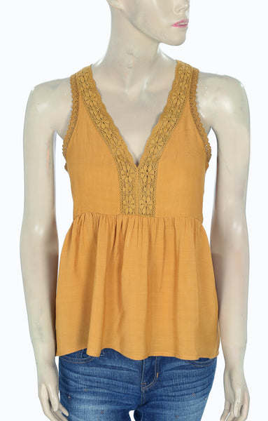 Free People Lace Mustard Blouse Top Small S