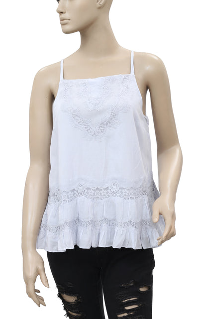 New Floreat Georgia Lace Pleated Sleeveless Blue Blouse Top Medium M