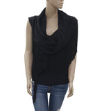 New Laurence Dolige Paris Fringed Sleeveless Causal Black Blouse Top M