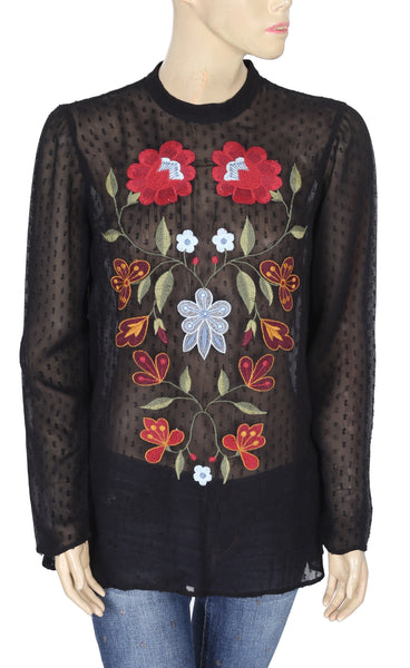Free People Embroidered Black Top M