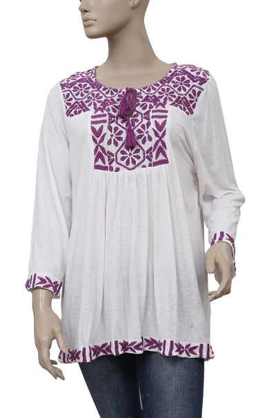 Lucky Brand Embroidered White Tunic Top XL