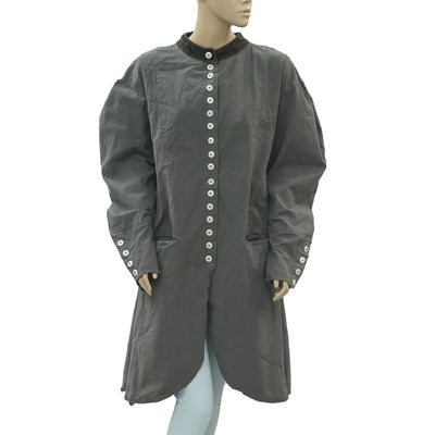 Ewa I Walla Peasant Lagenlook Vintage Buttondown Coat Jacket Dress XL