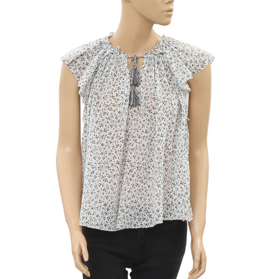 Ulla Johnson Printed Blouse Top Front Tie Cotton XS New