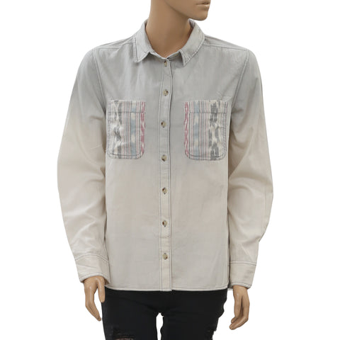 BDG Urban Outfitters Breezy Chambray Button-Down Shirt Top Long Sleeves M