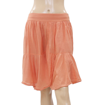 New White Chocolate Bead Embellished Pleated Orange Mini Skirt L