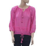 Denim & Supply Ralph Lauren Pleated Pink Blouse Top Front Tie Raglan M