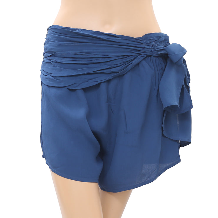 Free People $78 High Waist Faux Wrap Shorts Side Tie Zipper Blue S