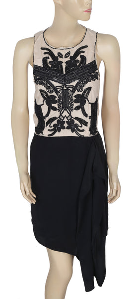 White Chocolate Embroidered Embellished Beige & Black Dress Small S