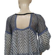 Free People Floral Print Crochet Lace Sheer Blouse Top S