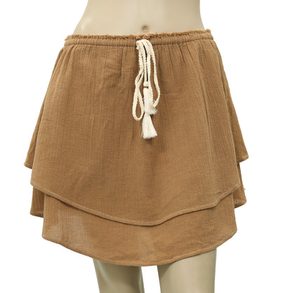 Free People Draw String Brown Cotton Skirt S