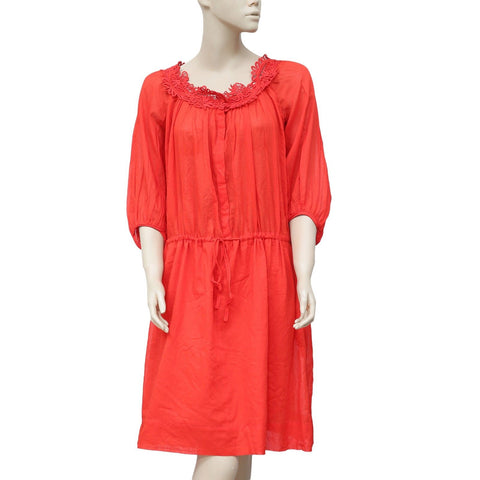 Etoile Isabel Marant Crochet Draw String Red Midi Dress M