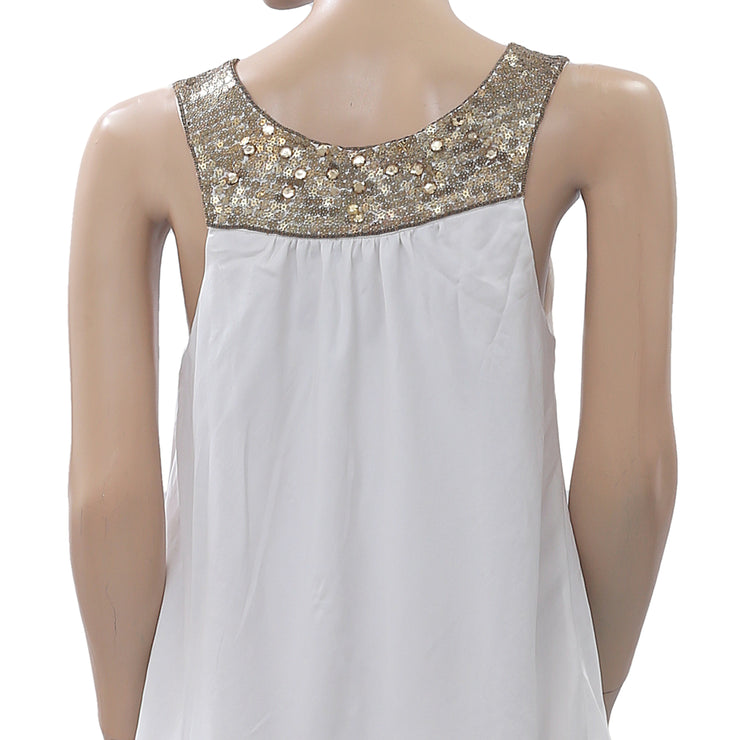 Leifsdottir Anthropologie Embellished Mini Dress Tiered Evening White M