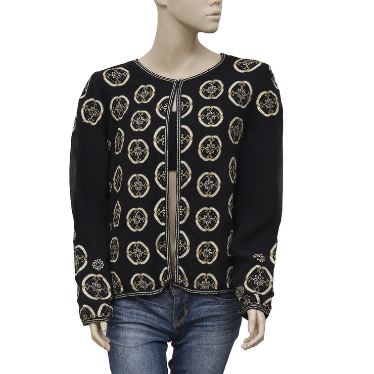 Monsoon Embroidered Embellished Black Jacket Top S