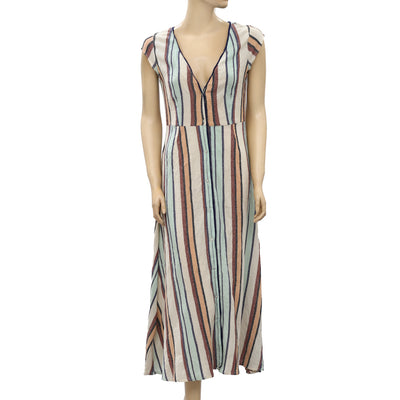 Free People Striped Printed Maxi Dress S