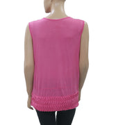 Anthropologie Ruched Pink Tunic Tank Top Holiday Boho M
