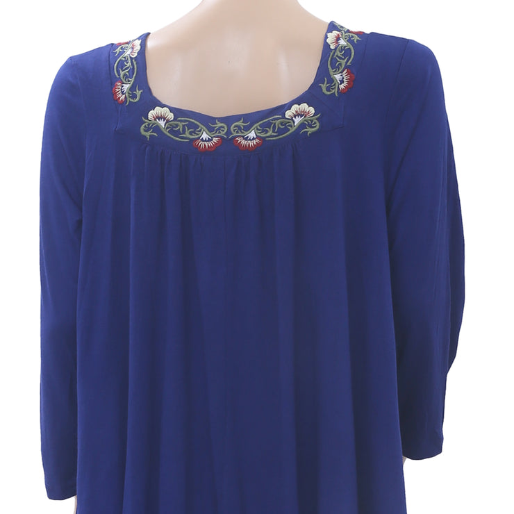 Caite Anthropologie Chelsea Embroidered Tunic Top Lace Boho Blue S