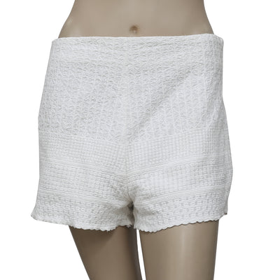 Free People Embroidered Cotton White Shorts S