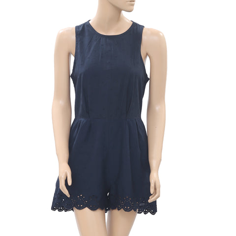 Superdry Eyelet Embroidered Play Suit Cotton Navy Mini Romper Dress XS NW