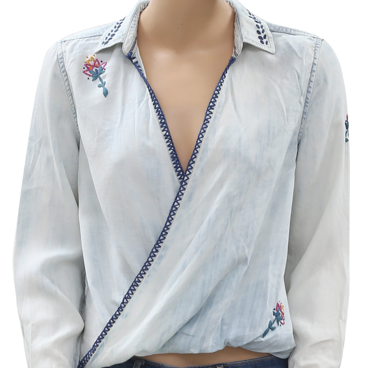 Jachs Girlfriend Embroidered Blue Wrap Blouse Top S