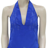 Free People Mockingbird Eyelet Embroidered Blue Halter Blouse Top XS