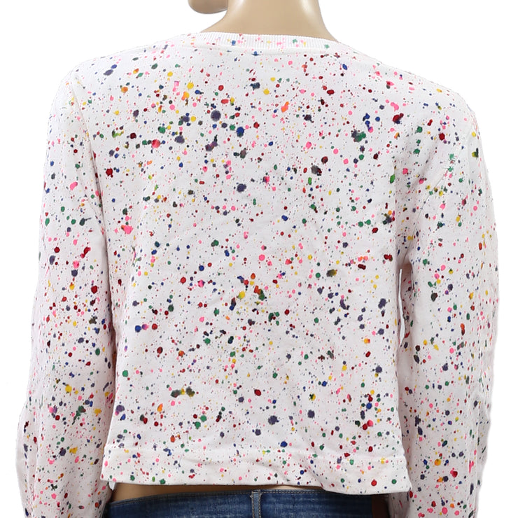 Free People Washed Printed Crop Pullover Top XS