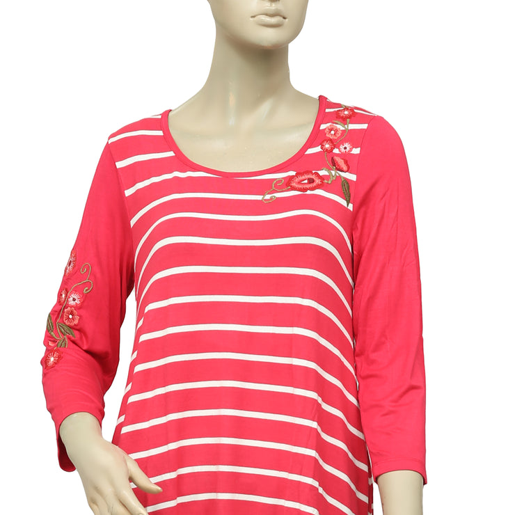 Caite Floral Embroidered Striped Printed Top S