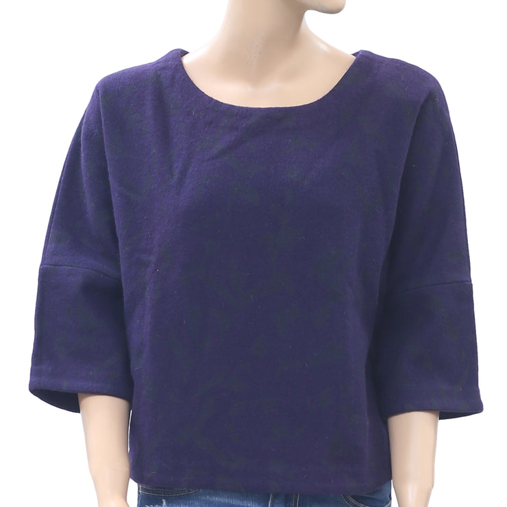 Ginger Printed Purple Pullover Oversized Blouse Top M