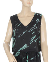 Elan Tie Dye Printed V Neck Sleeveless Black Mini Dress Medium M