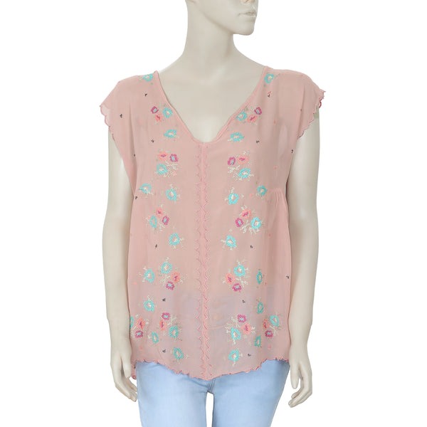 Hoss Intropia Embroidered Buttondown Rose Top M 38
