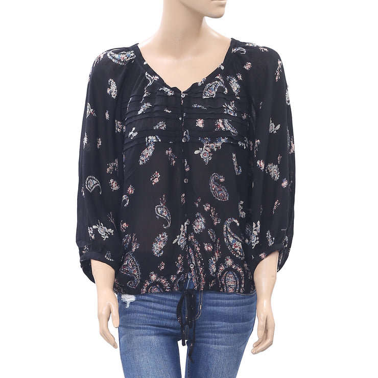 Ecote Urban Outfitters Paisley Boho Peasant Blouse Top Buttondown Black S
