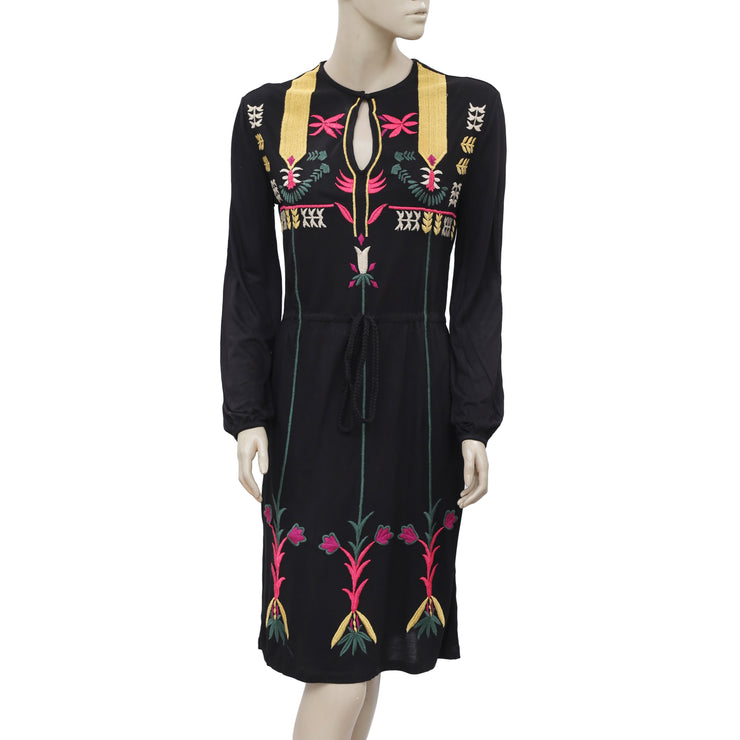 Desigual Floral Embroidered Round Neck Long Sleeve Casual Black Dress S