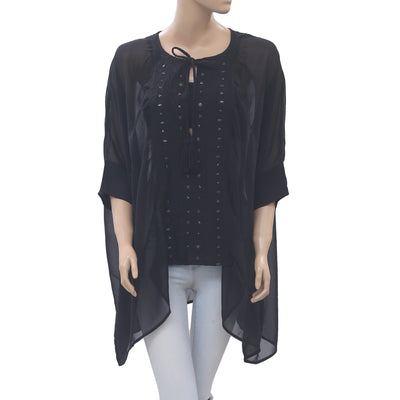 Free People Embroidered Black Kaftan Tunic Top Kimono Oversized M/L NEW