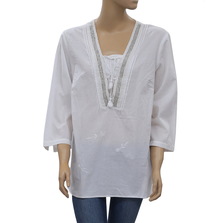 Gerry Weber White Beaded Tunic Top XL
