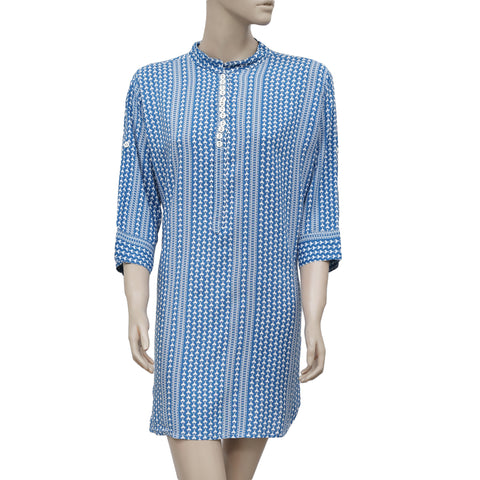 Lilly Pulitzer Printed Round Neck Casual Blue & White Tunic Dress  L