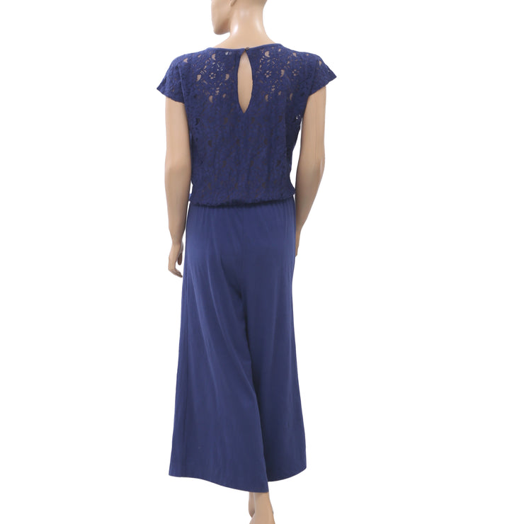 Odd Molly Anthropologie I Rock Jumpsuit Dress Lace Blue Wide Leg S NEW