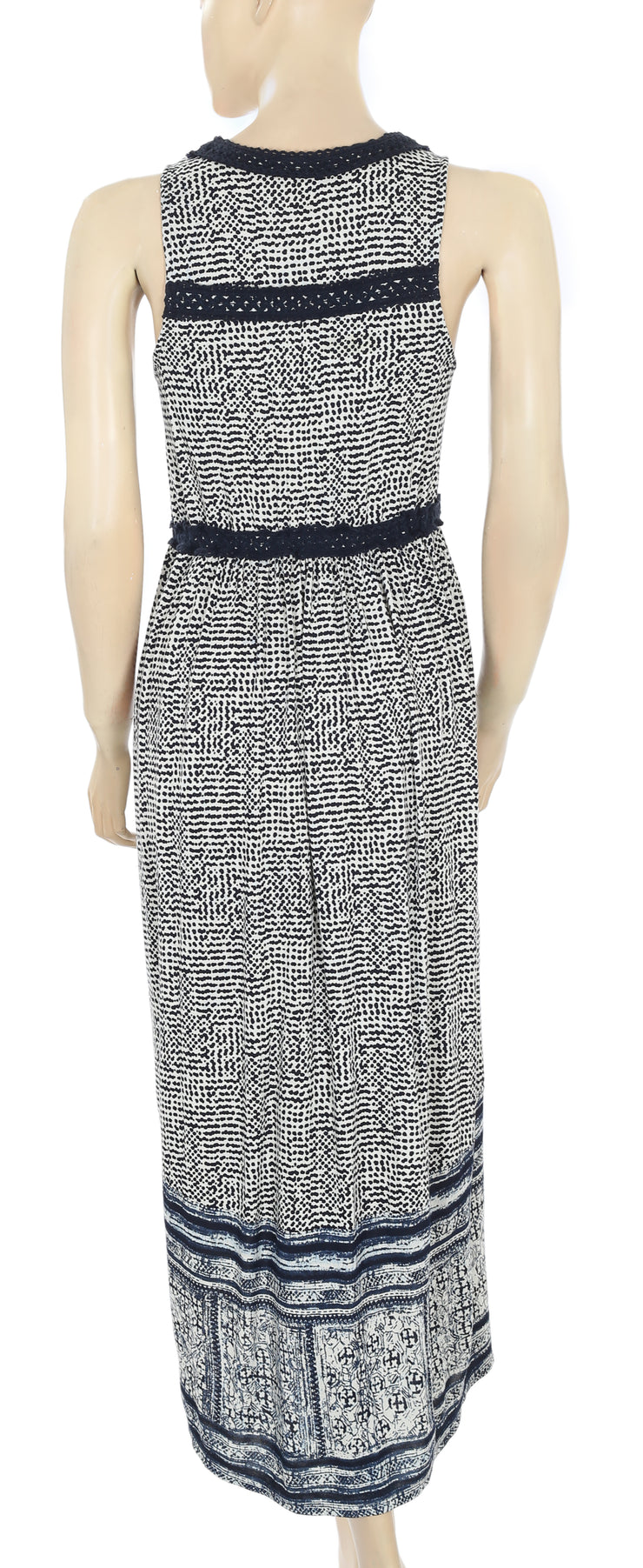 Lucky Brand Printed Crochet Maxi Dress S