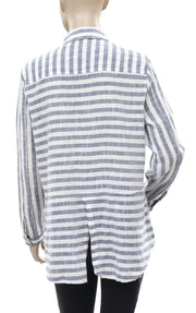 Lucky Brand Striped Printed  Gray Ivory Shirt Top L
