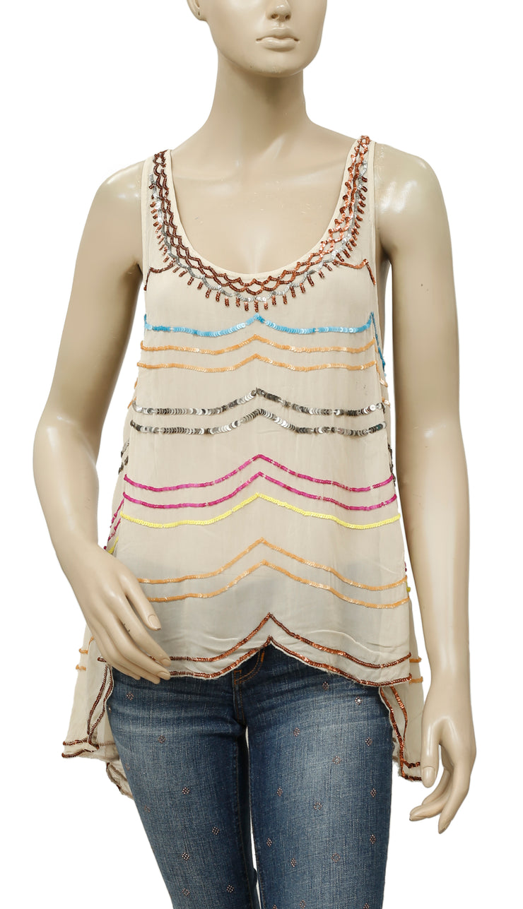 Free People Embellished Sleeveless Sheer Top S