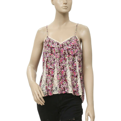 Free People Floral Printed Lace Tank Cami Top XS
